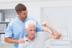 Man exercising old man